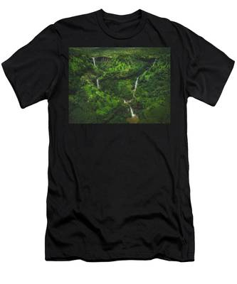 Kahili Falls Aerial Men's T-Shirt (Athletic Fit)