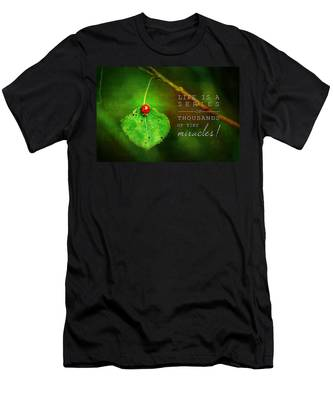 Ladybug On Leaf Thousand Miracles Quote Men's T-Shirt (Athletic Fit)