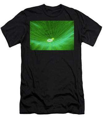 Men's T-Shirt (Athletic Fit) featuring the photograph Leaf Cupping A Giant Water Drop by Dennis Dame
