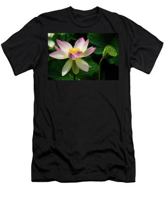 Men's T-Shirt (Athletic Fit) featuring the photograph Lotus Lily In Its Final Days by Dennis Dame