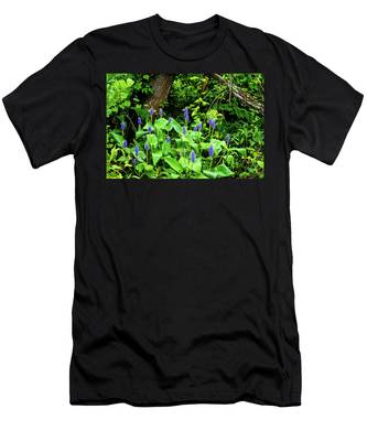 Men's T-Shirt (Athletic Fit) featuring the photograph Lush Purple Flowers In The Woods by Dennis Dame
