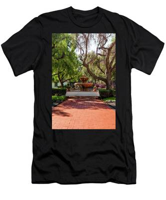 Men's T-Shirt (Athletic Fit) featuring the photograph Mission Fountain by Howard Bagley