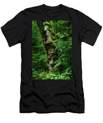 Men's T-Shirt (Athletic Fit) featuring the photograph Moody Tree In Forest by Dennis Dame