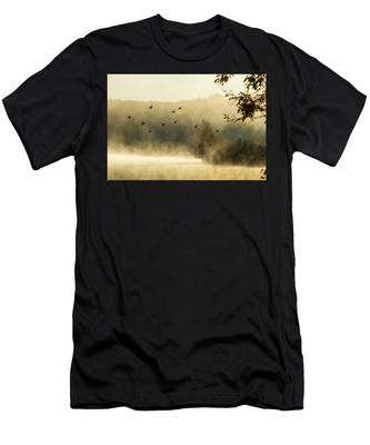 Men's T-Shirt (Athletic Fit) featuring the photograph Morning Fog On Haley Pond In Rangeley Maine by Jeff Folger