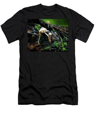 Men's T-Shirt (Athletic Fit) featuring the photograph Peek-a-boo Mushroom by Dennis Dame