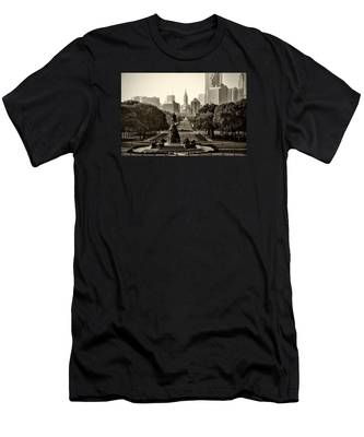 Men's T-Shirt (Athletic Fit) featuring the photograph Philadelphia Benjamin Franklin Parkway In Sepia by Bill Cannon