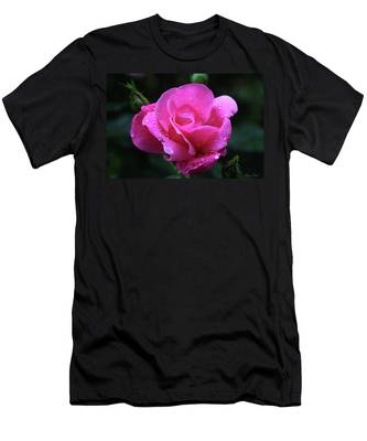 Pink Rose With Raindrops Men's T-Shirt (Athletic Fit)