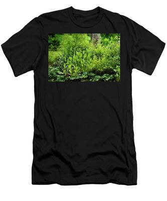 Men's T-Shirt (Athletic Fit) featuring the photograph Purple Flowers By The Ponds Edge by Dennis Dame