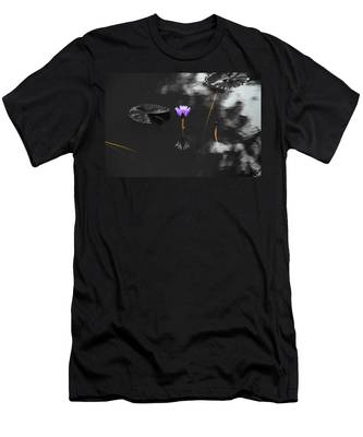 Men's T-Shirt (Athletic Fit) featuring the photograph Purple Lily In Black And White by Dennis Dame