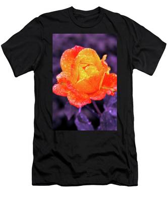 Men's T-Shirt (Athletic Fit) featuring the photograph Raindrops On Roses by Howard Bagley