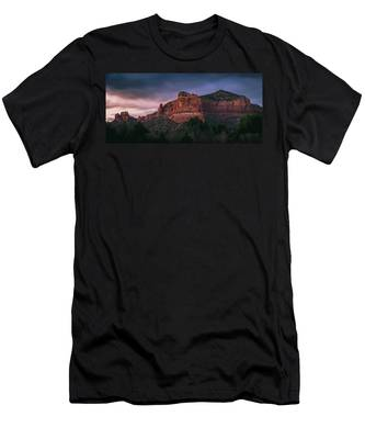 Men's T-Shirt (Athletic Fit) featuring the photograph Red Rock Formations Long Exposure by Andy Konieczny