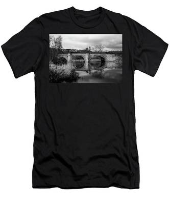 Reflecting Oval Stone Bridge In Blanc And White Men's T-Shirt (Athletic Fit) by Dennis Dame