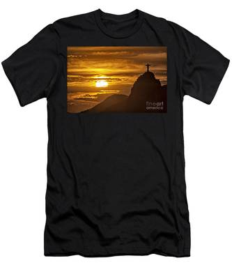 Men's T-Shirt (Athletic Fit) featuring the photograph Rio De Janeiro Christ Statue by Juergen Held