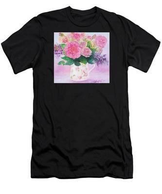 Roses In A Pink Floral Jug Men's T-Shirt (Athletic Fit)
