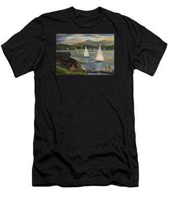 Sailing At Lake Morey Vermont Men's T-Shirt (Athletic Fit)