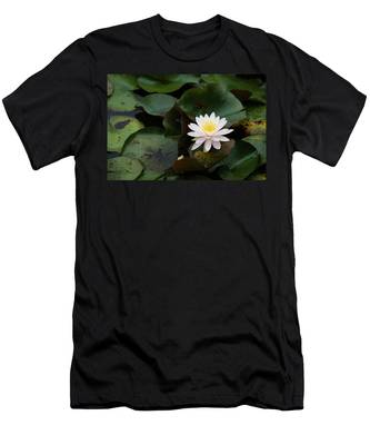 Men's T-Shirt (Athletic Fit) featuring the photograph Single White Pristine Lotus Lily by Dennis Dame