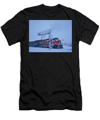 Snowy Train Crossing  Men's T-Shirt (Athletic Fit)