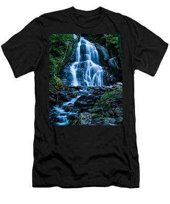 Men's T-Shirt (Athletic Fit) featuring the photograph Spring At Moss Glen Falls by Jeff Folger