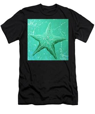 Starfish In Teal Men's T-Shirt (Athletic Fit)