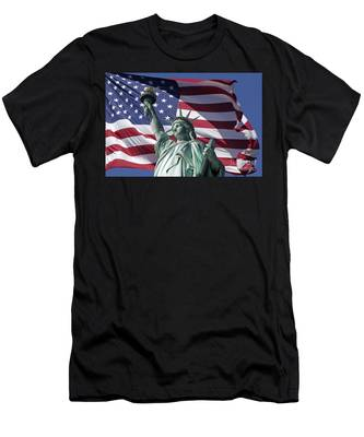 Men's T-Shirt (Athletic Fit) featuring the photograph Statue Of Liberty New York  by Juergen Held