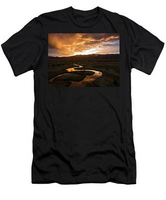 Sunrise Over Winding River Men's T-Shirt (Athletic Fit)