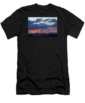 Sunset Red Clouds And Space Needle Men's T-Shirt (Athletic Fit)