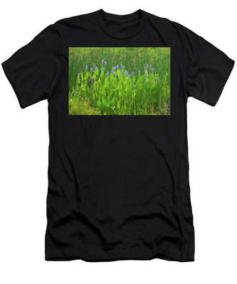 Men's T-Shirt (Athletic Fit) featuring the photograph Tall Purple And Blue Blooming Flowers by Dennis Dame