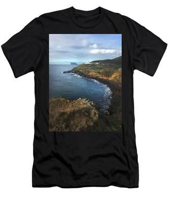 Terceira Island Coast With Ilheus De Cabras And Ponta Das Contendas Lighthouse  Men's T-Shirt (Athletic Fit)