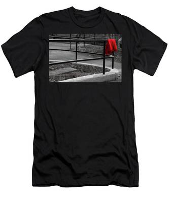 Men's T-Shirt (Athletic Fit) featuring the photograph The Lost Red Jacket by Dennis Dame