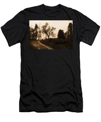 Men's T-Shirt (Athletic Fit) featuring the photograph The Road To Turkey Point Lighthouse by Dennis Dame