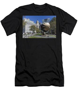 Men's T-Shirt (Athletic Fit) featuring the photograph The Sphere Batterie Park Nyc by Juergen Held