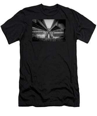 The Underside Of Two Bridges Symmetry In Black And White Men's T-Shirt (Athletic Fit)