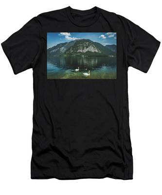 Three Lake Hallstatt Swans Men's T-Shirt (Athletic Fit)