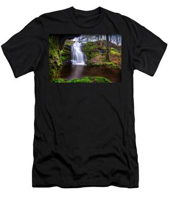 Men's T-Shirt (Athletic Fit) featuring the photograph Tranquil Slow Soft Waterfall by Dennis Dame