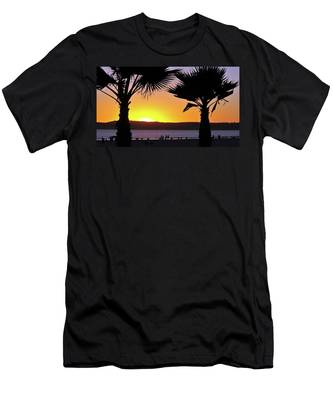 Men's T-Shirt (Athletic Fit) featuring the photograph Twin Palms At Sunset by Howard Bagley