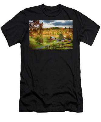 Men's T-Shirt (Athletic Fit) featuring the photograph Vermont Sleepy Hollow In Fall Foliage by Jeff Folger