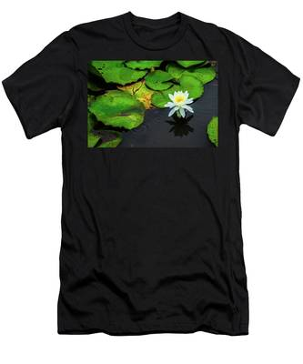 Men's T-Shirt (Athletic Fit) featuring the photograph White Lily And Rippled Water by Dennis Dame