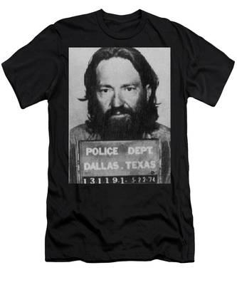 Willie Nelson Mug Shot Vertical Black And White Men's T-Shirt (Athletic Fit)