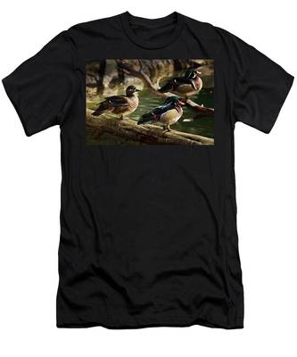 Men's T-Shirt (Athletic Fit) featuring the photograph Wood Ducks Posing On A Log by Dennis Dame