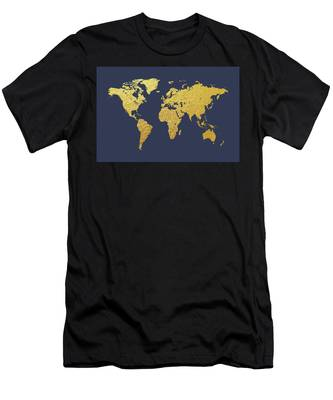 World Map Gold Foil Men's T-Shirt (Athletic Fit)
