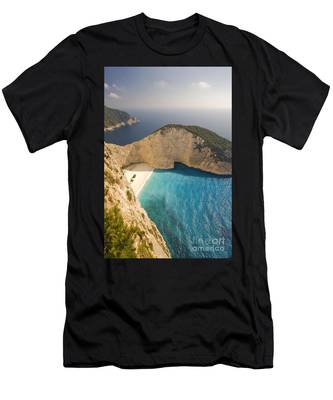 Men's T-Shirt (Athletic Fit) featuring the photograph Zakynthos Beach by Juergen Held