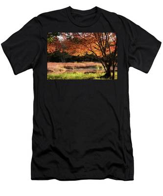 Men's T-Shirt (Athletic Fit) featuring the photograph Dawn Lighting Rhode Island Fall Colors by Jeff Folger