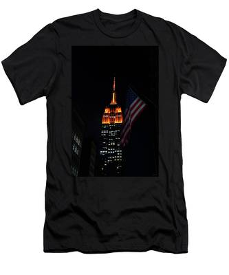Empire State Building American Flag Men's T-Shirt (Athletic Fit)
