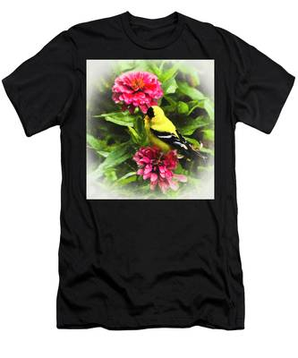 Men's T-Shirt (Athletic Fit) featuring the photograph Goldfinches Love Zinnias by Ola Allen