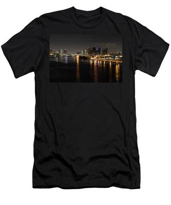 Miami Lights At Night Men's T-Shirt (Athletic Fit)