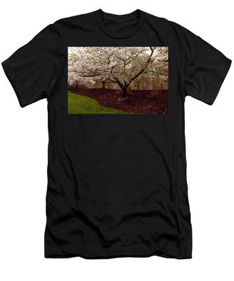 Men's T-Shirt (Athletic Fit) featuring the photograph Snowy Cherry Blossoms by Ola Allen