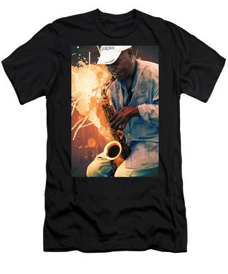 Street Sax Player Men's T-Shirt (Athletic Fit)