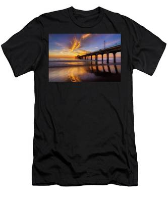 Men's T-Shirt (Athletic Fit) featuring the photograph Stunning Sunset At Manhattan Beach Pier by Andy Konieczny