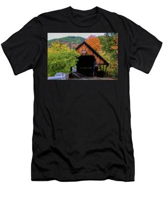 Woodstock Middle Bridge In October Men's T-Shirt (Athletic Fit) by Jeff Folger