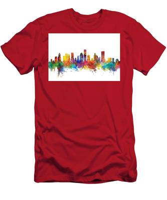 Houston Texas Skyline Men's T-Shirt (Athletic Fit)